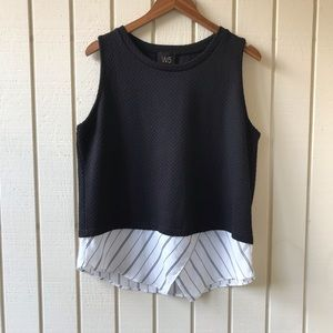 W5 Black Tank Top with Stripe Accent